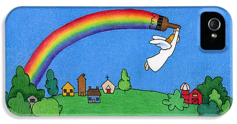 Angels IPhone 5 Case featuring the drawing Rainbow Painter by Sarah Batalka