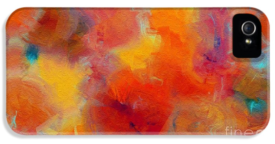 Abstract IPhone 5 Case featuring the digital art Rainbow Passion - Abstract - Digital Painting by Andee Design