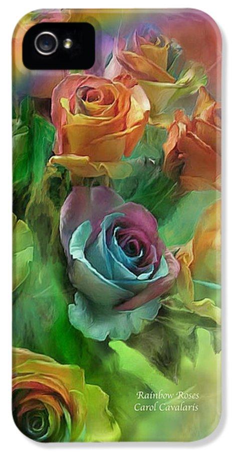 Rose Art IPhone 5 Case featuring the mixed media Rainbow Roses by Carol Cavalaris