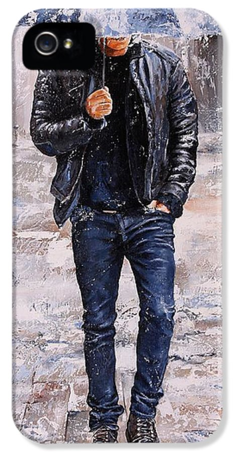 Rain IPhone 5 Case featuring the painting Rainy Day #23 by Emerico Imre Toth