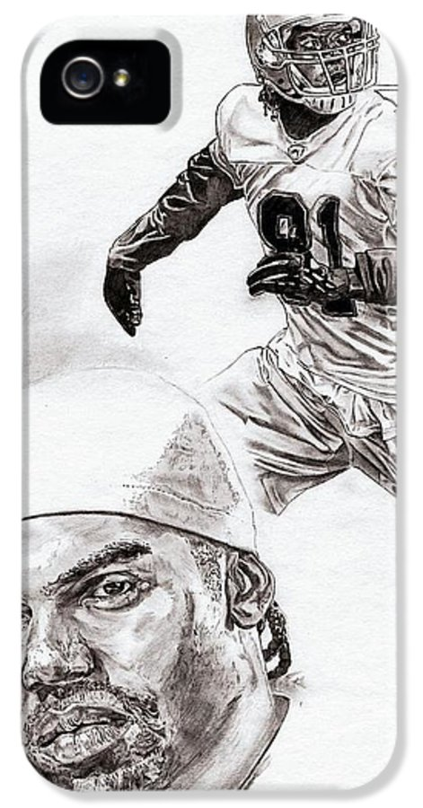 Randy Moss IPhone 5 Case featuring the drawing Randy Moss by Jonathan Tooley