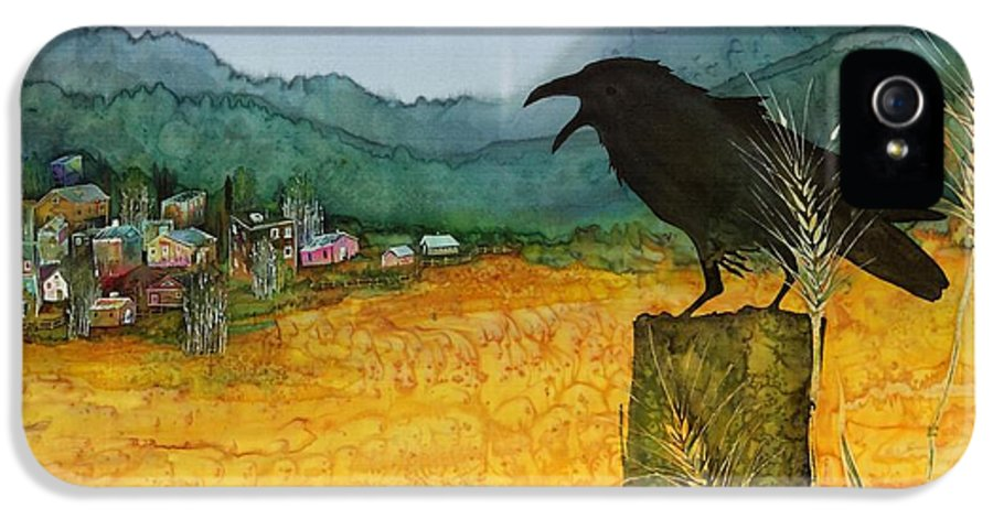 Ravens IPhone 5 Case featuring the tapestry - textile Raven And The Village 2 by Carolyn Doe