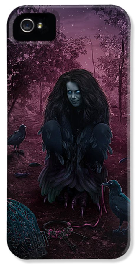 Fantasy IPhone 5 Case featuring the digital art Raven Spirit by Cassiopeia Art
