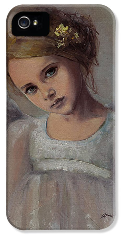 Fantasy IPhone 5 Case featuring the painting Reading Into Your Soul by Dorina Costras