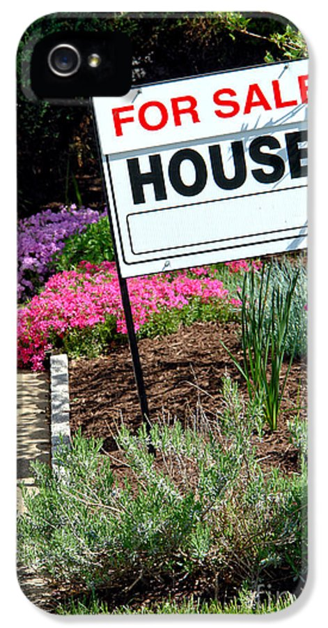 Sign IPhone 5 Case featuring the photograph Real Estate For Sale Sign And Garden by Olivier Le Queinec