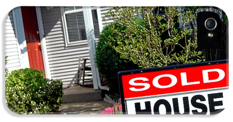 Sign IPhone 5 Case featuring the photograph Real Estate Sold House Sign And Home For Sale by Olivier Le Queinec