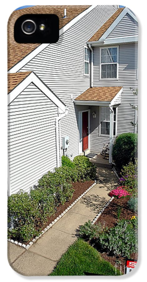 Sign IPhone 5 Case featuring the photograph Real Estate Sold Sign And House View From Above by Olivier Le Queinec