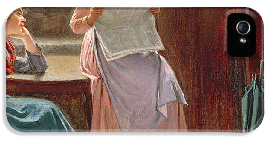 Interior; Newspaper; Letter; Reading; Female; Mother; Daughter; Daughters; Sisters; Girls; Family; Kitchen; Breakfast Table; Seated; Geraniums; Pot Plants; War Time; Communication; Victorian; Daily Life Scene; Anxiety; The Boer War IPhone 5 / 5s Case featuring the painting Recent News by Haynes King