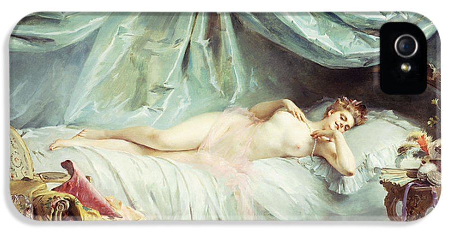 French IPhone 5 Case featuring the painting Reclining Nude In An Elegant Interior by Madeleine Lemaire