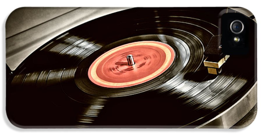 Vinyl IPhone 5 Case featuring the photograph Record On Turntable by Elena Elisseeva