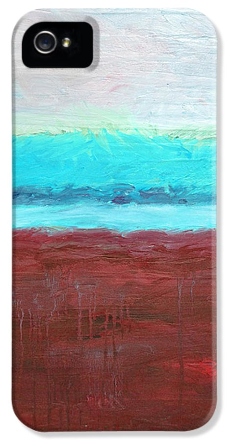 Abstract IPhone 5 Case featuring the painting Red And Aqua Get Married by Michelle Calkins