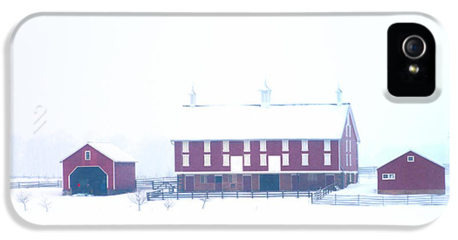 Red IPhone 5 Case featuring the photograph Red Barn On A Snowy Day - Gettysburg by Bill Cannon