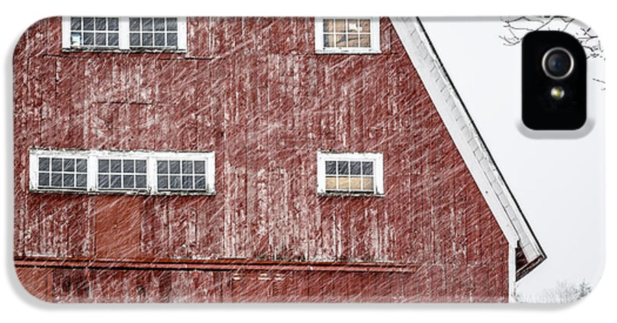 Etna IPhone 5 Case featuring the photograph Red Barn Whiteout by Edward Fielding