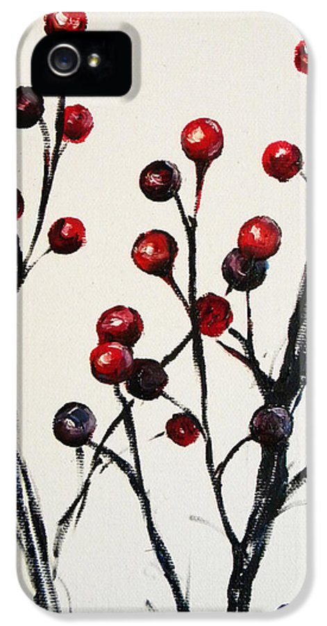 Rebekah Reed Art IPhone 5 Case featuring the painting Red Berry Study by Rebekah Reed