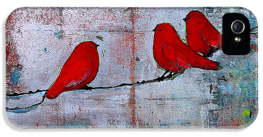 Red Birds IPhone 5 Case featuring the painting Red Birds Let It Be by Blenda Studio