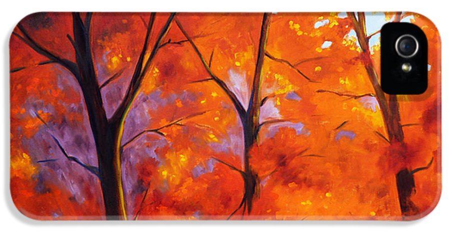Maple Tree IPhone 5 Case featuring the painting Red Blaze by Nancy Merkle