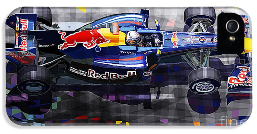 Automotive IPhone 5 Case featuring the digital art Red Bull Rb6 Vettel 2010 by Yuriy Shevchuk