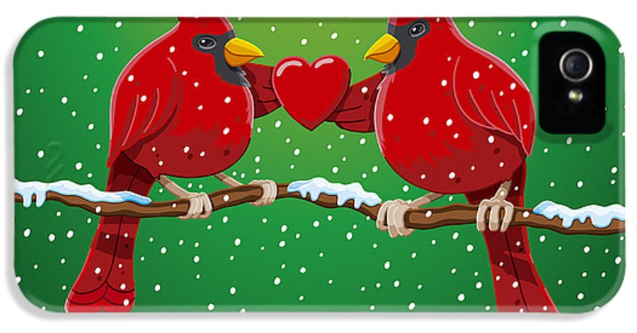 Christmas IPhone 5 Case featuring the drawing Red Cardinal Bird Pair Heart Christmas by Frank Ramspott