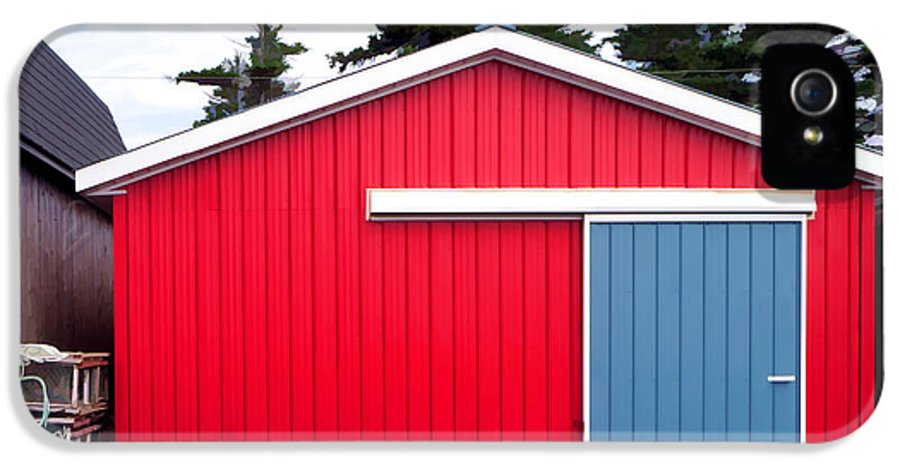 Red IPhone 5 Case featuring the photograph Red Fishing Shack Pei by Edward Fielding