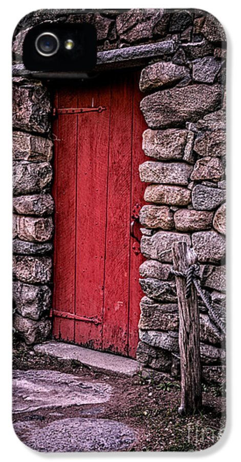 Door IPhone 5 Case featuring the photograph Red Grist Mill Door by Edward Fielding