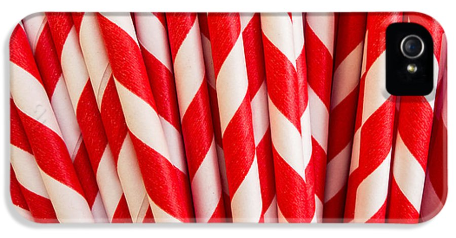 Red IPhone 5 Case featuring the photograph Red Paper Straws by Edward Fielding