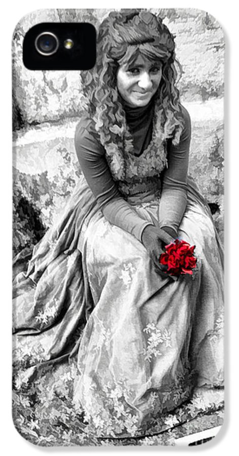 Young IPhone 5 Case featuring the photograph Red Red Rose In Black And White by David Smith