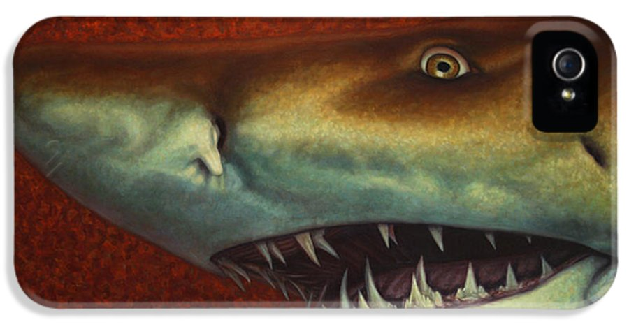 Shark IPhone 5 Case featuring the painting Red Sea Shark by James W Johnson