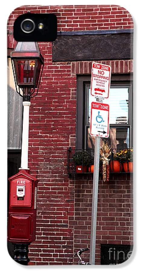 Red In Boston IPhone 5 Case featuring the photograph Red Street In Boston by John Rizzuto