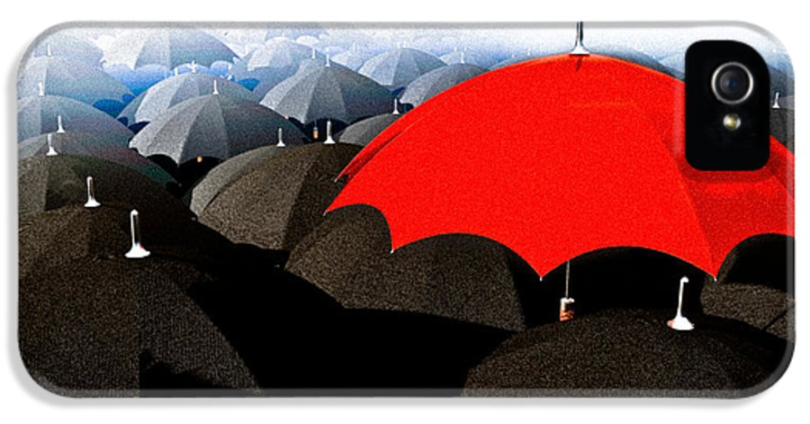 Umbrella IPhone 5 Case featuring the digital art Red Umbrella In The City by Bob Orsillo