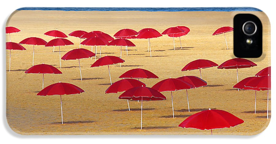 Abstract IPhone 5 Case featuring the photograph Red Umbrellas by Carlos Caetano