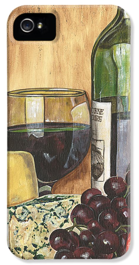 Red Wine IPhone 5 Case featuring the painting Red Wine And Cheese by Debbie DeWitt