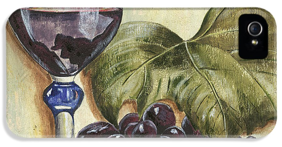 Wine IPhone 5 Case featuring the painting Red Wine And Grape Leaf by Debbie DeWitt