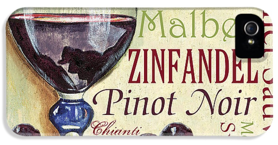 Wine IPhone 5 Case featuring the painting Red Wine Text by Debbie DeWitt