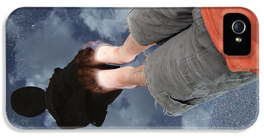 Reflection IPhone 5 Case featuring the photograph Reflection Of Boy In A Puddle Of Water by Matthias Hauser