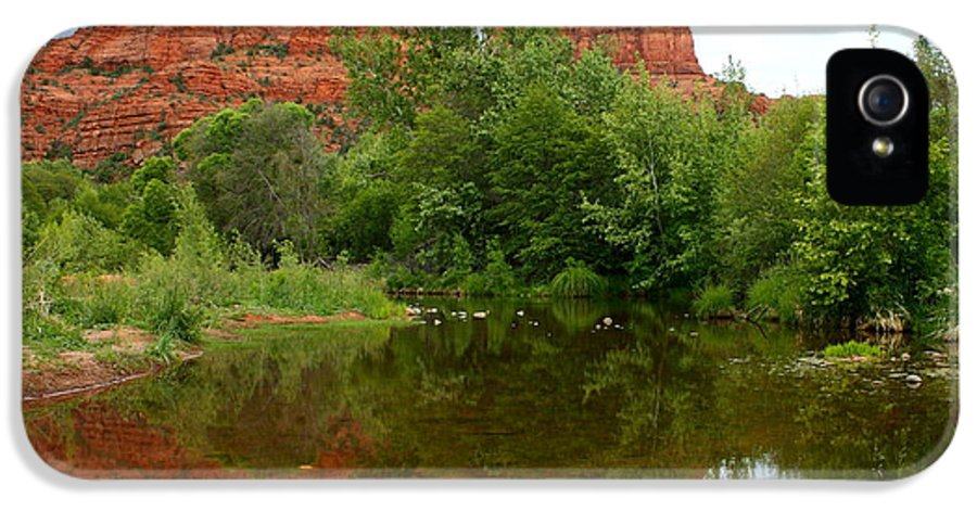 Sedona IPhone 5 Case featuring the photograph Reflection Of Cathedral Rock by Carol Groenen