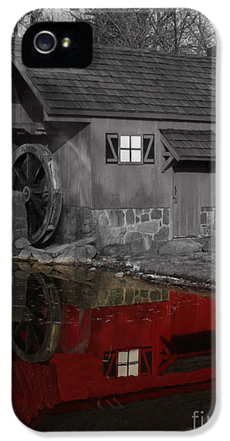 Colorkey IPhone 5 Case featuring the photograph Reflection Of Red Mill by Bill Woodstock