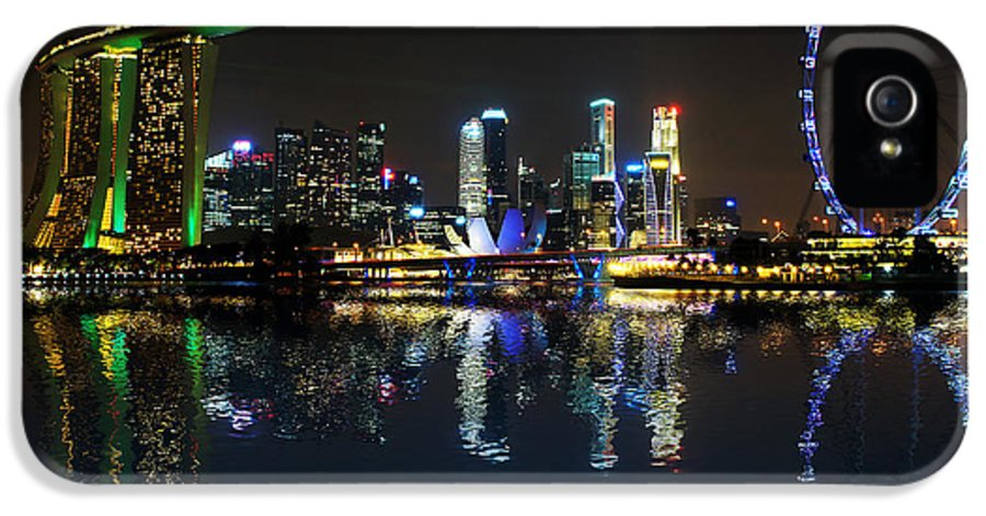 Architecture IPhone 5 Case featuring the photograph Reflections At Marina Bay by Jenny Zhang