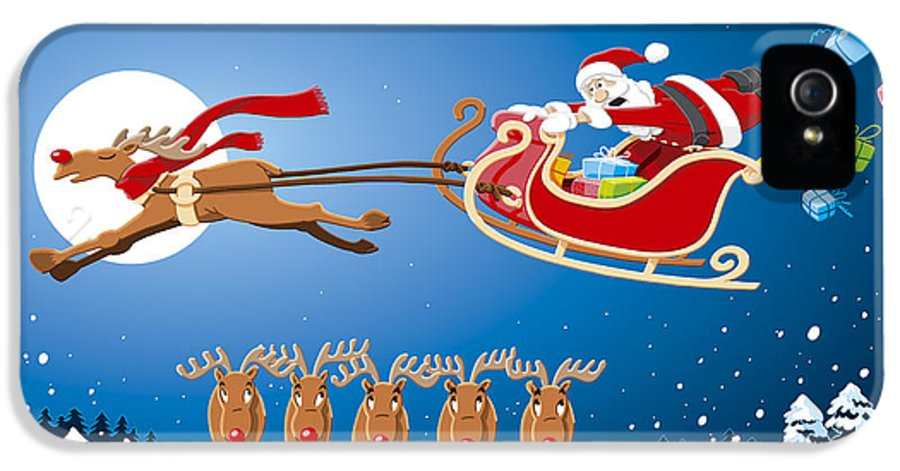 Santa Claus IPhone 5 Case featuring the drawing Reindeer Santa Sleigh Christmas Stunt Show by Frank Ramspott