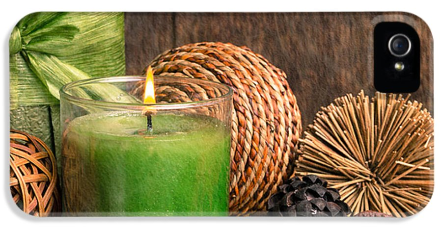Aromatherapy IPhone 5 Case featuring the photograph Relaxing Spa Candle by Edward Fielding