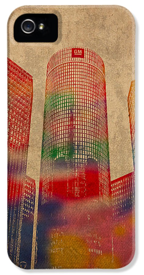 Renaissance IPhone 5 Case featuring the mixed media Renaissance Center Iconic Buildings Of Detroit Watercolor On Worn Canvas Series Number 2 by Design Turnpike
