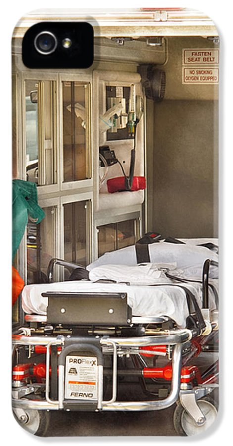Savad IPhone 5 Case featuring the photograph Rescue - Inside The Ambulance by Mike Savad