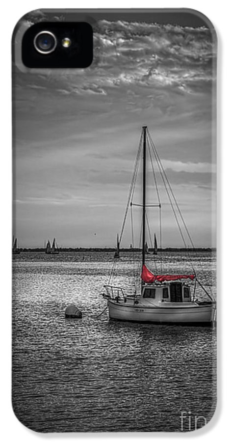 Sailboats IPhone 5 Case featuring the photograph Rest Day B/w by Marvin Spates