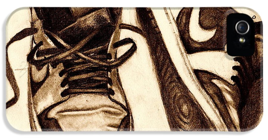 Shoes IPhone 5 / 5s Case featuring the drawing Retro 1 by Dallas Roquemore