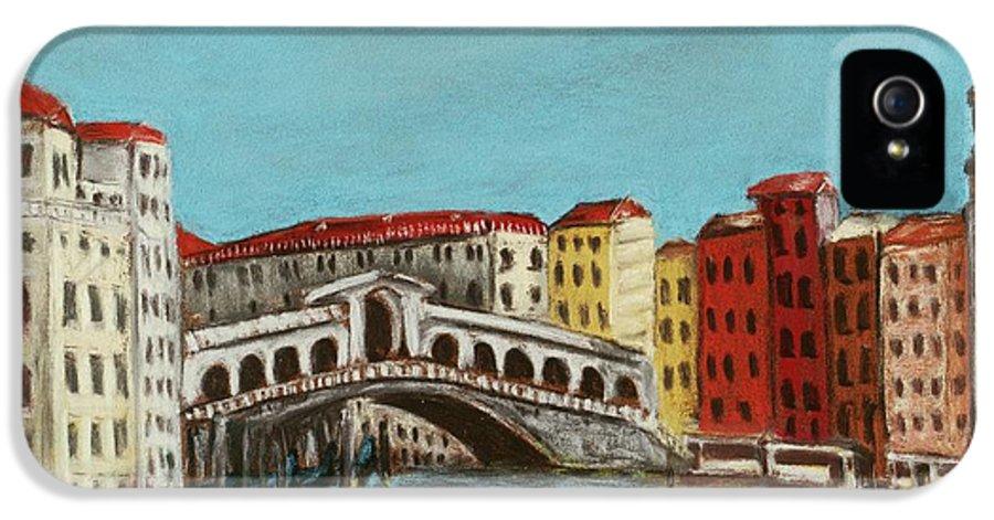 Interior IPhone 5 Case featuring the painting Rialto Bridge by Anastasiya Malakhova