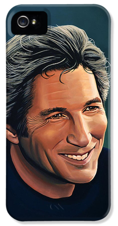 Richard Gere IPhone 5 Case featuring the painting Richard Gere by Paul Meijering