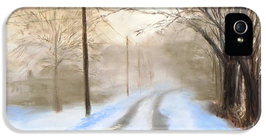 Snow IPhone 5 Case featuring the pastel Road To The Ice House by Jack Skinner