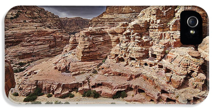 Jordan IPhone 5 Case featuring the photograph rock landscape with simple tombs in Petra by Juergen Ritterbach