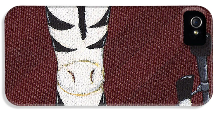 Zebra IPhone 5 / 5s Case featuring the painting Rock 'n Roll Zebra by Christy Beckwith