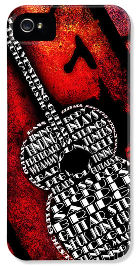 Abstract IPhone 5 Case featuring the digital art Rockin Guitar In Red Typography by Andee Design