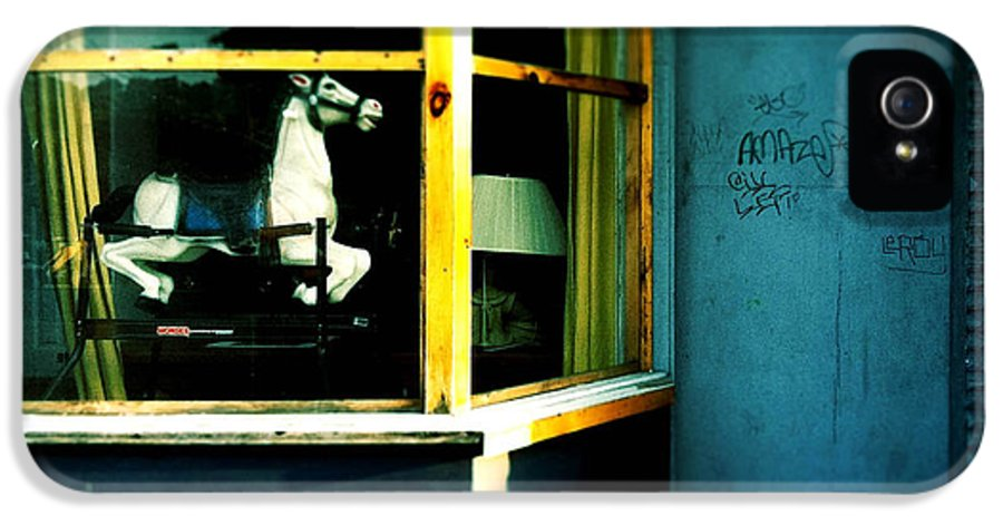 Rocking Horse IPhone 5 Case featuring the photograph Rocking Horse In Window by Amy Cicconi